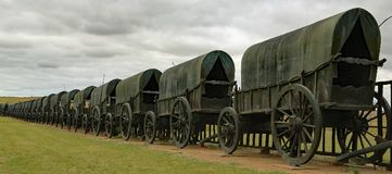 Zululand Battle of Blood river Monument. Wagons formed in a laager for protection against attack as in 1838 battle of Boers and Zulu warriors in South Africa Stock Photography