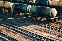 Wagons of a freight train. Transporting oil Stock Photo