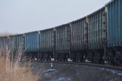 Wagons of a freight train Stock Photos