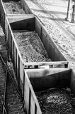 Wagons loaded with coal on rails Stock Image