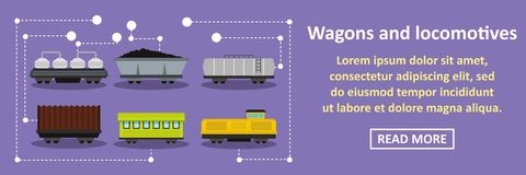Wagons and locomotives banner horizontal concept Royalty Free Stock Images