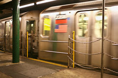Wagons motion. NEW YORK - JUN 22: Interior of NYC Subway station, June 22, 2008 in New York. Subway system has 468 stations in operation royalty free stock photo
