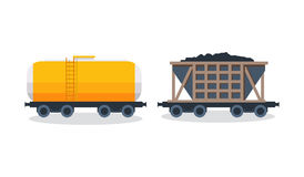 Wagons: transportation and cargo carriage coal. Wagons with freight, cisterns. Stock Photos