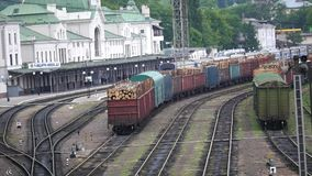 Wagons with tree on railway track stock video