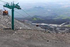 Wagonu kolei linowej dudusia wierzchołek góra Etna przy Sicily, Włochy obraz stock