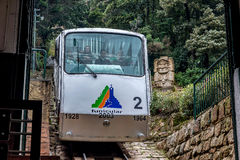 Wagonu kolei linowej Funicular stary metro Monserrate góra w Bogot Fotografia Royalty Free