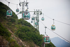 Wagony kolei linowej nad tropikalnymi drzewami w Hong Kong Obraz Stock