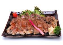 Wagyu牛肉Teriyaki,隔绝在白色背景剪报轻拍 免版税库存图片