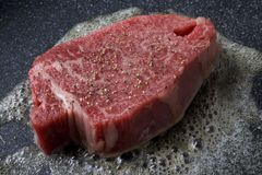 Wagyu. Japanese Beef Steak on the Pan Royalty Free Stock Photography