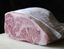 Wagyu Beef. A block of Japanese Wagyu beef Stock Images
