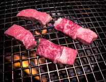 Wagyu beef on grill. Cutlets of wagyu beef steak on grill. This restaurant is in Kyoto, Japan Stock Images