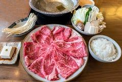 Wagyu beef Shabu hot pot set Stock Images