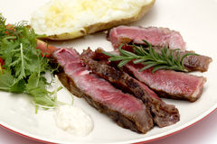 Wagyu beef sliced with salad and potato Stock Photography