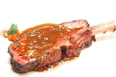 Wagyu beef steak. Gourmet Main Entree Course Grilled Wagyu beef steak with spicy Pepper sauce Stock Photo