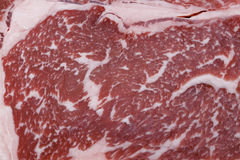 Wagyu beef steak marbling. The marbling of a wagyu ribeye steak. The distribution of low-cholesterol, low-melting point fat throughout the meat gives wagyu its Royalty Free Stock Photography
