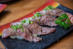 Wagyu beef sushi set Royalty Free Stock Photo