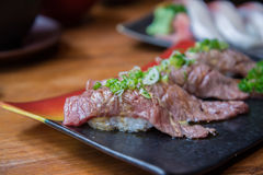 Wagyu beef sushi set Royalty Free Stock Photography