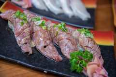 Wagyu beef sushi set Royalty Free Stock Photos