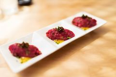 Wagyu beef tartar with yuzu sauce Royalty Free Stock Photo