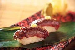 wagyu för nötköttjapan sushi Arkivbilder