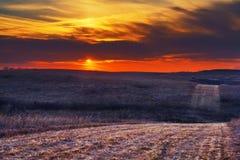 Wah-Kon-Tah Prairie Sunset Royalty Free Stock Photo