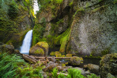 Wahclella Falls Columbia River Gorge. Shady, cool landscape at the base of Wahclella Falls in the Columbia River Gorge royalty free stock photo