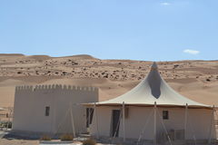 Wahiba (Sharqiya) Sands. In the Wahiba Sands we stayed in these wonderful tents set up in the gap between two giant sand dunes Royalty Free Stock Photo