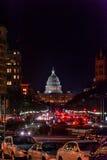 WAHINGTON, D C - 2014年1月09日:有国会大厦大厦的华盛顿Citycape在背景中 免版税库存照片