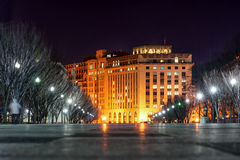 WAHINGTON, D.C. - JANUARY 09, 2014: Washington Cityscape. Low Angle Photo. Long Exposure. Night Photography. royalty free stock image