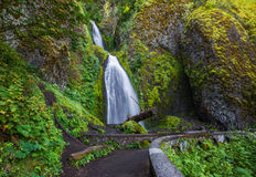 Wahkeena Falls. View Of Wahkeena Falls From Trail, Columbia River Gorge, Oregon Royalty Free Stock Photography