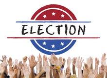 Wahl-Abstimmungs-Demokratie-Referendum-Grafik-Konzept stockfotos