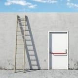 Wahl zwischen der Tür und der Leiter Stockfotografie