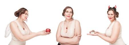 Wahl zwischen gesundem und ungesundem Lebensmittel Stockbild