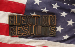 Wahlergebnisse auf USA-Markierungsfahne Lizenzfreie Stockfotografie