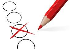 Wahlkreuz, Kontrolle mit farbigem Bleistift Stockbild