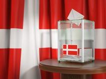 Wahlurne mit Flagge von Dänemark- und Abstimmungspapieren Dänisches presid vektor abbildung