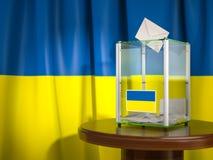Wahlurne mit Flagge von Ukraine- und Abstimmungspapieren Ukrainisches Präsidenten- oder Parlamentswahl stockbilder