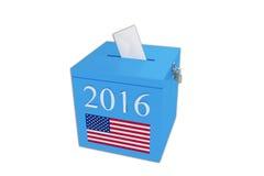 Wahlurne in Rotem, in weißem und Blau mit dem Stimmzettel, der innen fällt Lizenzfreie Stockfotos