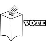 Wahlurne in Rotem, in weißem und Blau mit dem Stimmzettel, der innen fällt Lizenzfreie Stockbilder