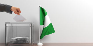 Wahlurne und eine kleine Nigeria-Flagge Abbildung 3D lizenzfreie abbildung