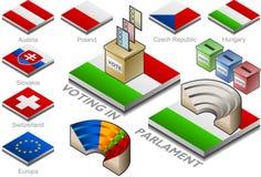 Wahlurne und parlament auf der Tastenmarkierungsfahne Lizenzfreies Stockfoto