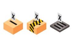 Wahlurnen - Stimmzettel - Abstimmung Stockbild