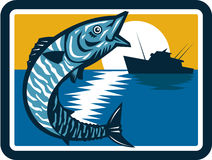 Wahoo Fish Jumping Fishing Boat Square Retro. Illustration of a wahoo , Acanthocybium solandri, a scombrid fish jumping up with sea and fishing boat in the Stock Photography