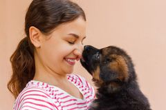 Wahre Freundschaft zwischen Mädchen und Welpen, der einen Kuss gibt lizenzfreies stockbild