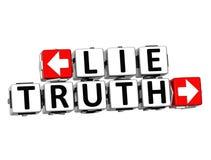 Wahrheits-Knopf der Lügen-3D klicken hier Block-Text Lizenzfreies Stockbild