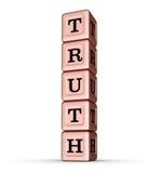 Wahrheits-Wort-Zeichen Vertikaler Stapel von Rose Gold Metallic Toy Blocks Stockfotografie