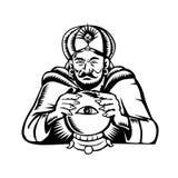 Wahrsager-Auge auf Crystall-Ball-Holzschnitt Stockbilder
