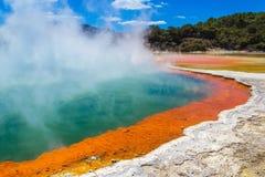 "Wai-O-Tapu或神圣的水†""热量妙境的罗托路亚新西兰香槟池 免版税库存照片"