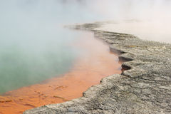 Wai O Tapu. Close up of WaioTapu geothermal lagoon in New Zealand stock photography