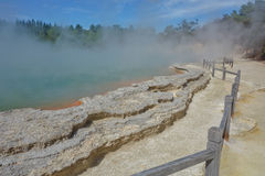 Wai-o-tapu Thermal park, Champagne pool, New Zealand. Wai-o-tapu Thermal Wonderland is a popular park. Orange and green hot pools, rising steam and moonlike Stock Photo